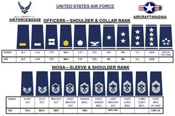 Each rank listed above is in order from lowest to highest in their